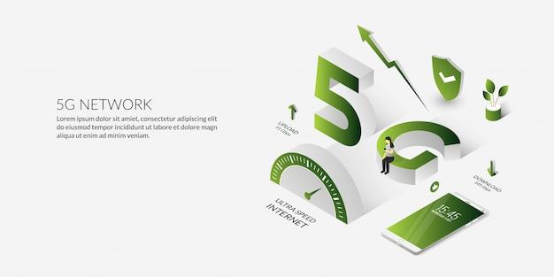 Isometric 5g netzwerktechnologie das ultrahochgeschwindigkeitsinternet