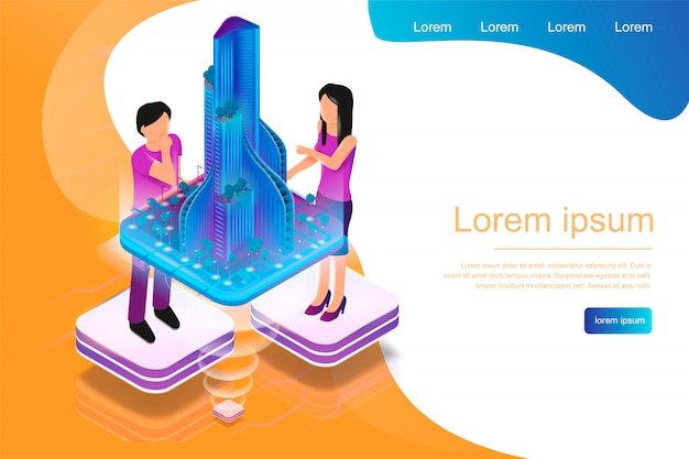 Isometric banner augmented reality für architekten