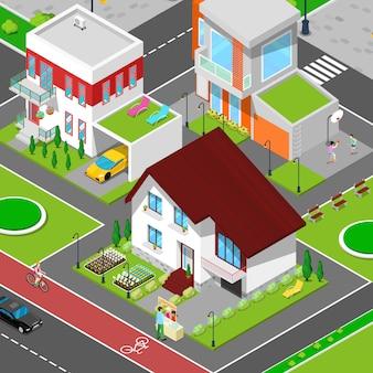 Isometric city cottage schlafsaal mit häusern, fahrradweg und sportplatz.