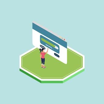 Isometric ein frau stehender eröffnungs-website-bildschirm hochladen eines verkaufsinhalts