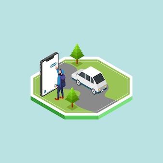 Isometric ein mann, der auf der seite der straße steht, die smartphone betreibt, um anwendung zu öffnen