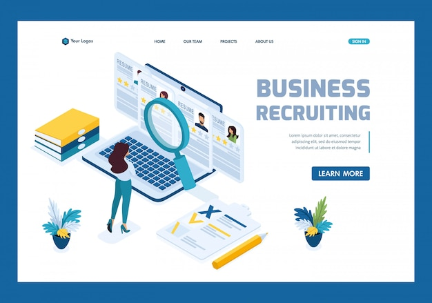 Isometric hr manager, business recruiting manager, überprüft die lebenslaufoptionen auf der zielseite der website
