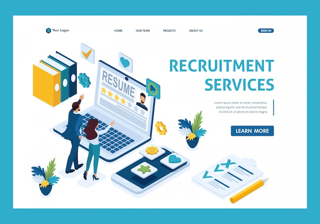 Isometric hr manager, service zum finden von mitarbeitern, manager als kandidaten, bewerber landing page