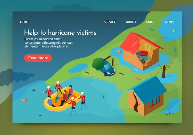Isometric ist schriftliche hilfe für hurrikanopfer.