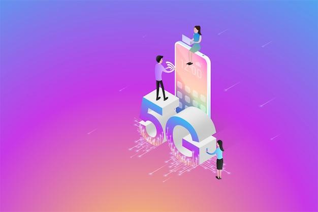Isometric new 5g wireless-netzwerk die nächste generation der internetkommunikation mit smartphone-konnektivität.