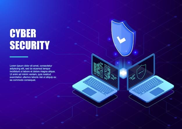 Isometric protection netzwerksicherheit und sichere deine datenvorlage