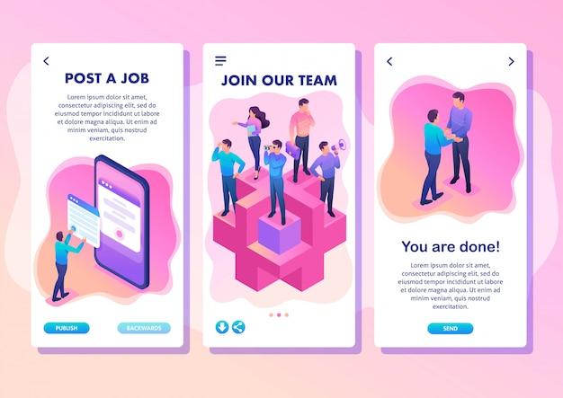 Isometric template app helles konzept treten sie unserem team bei, wir brauchen profis, smartphone-apps