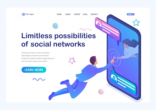 Isometric unbegrenzte möglichkeiten sozialer netzwerke, ein junges mädchen kommuniziert mit einem jungen mann über das internet. online-dating.