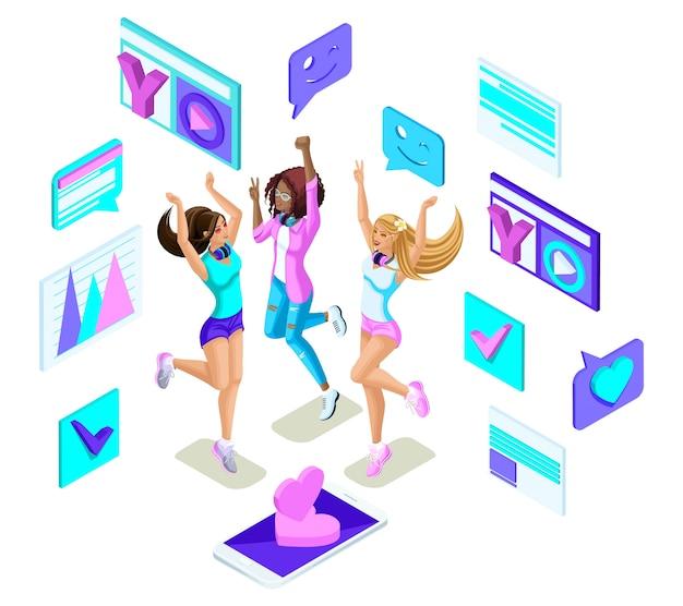 Isometrics teenager springen, generation z, harte mädchen, schön und jung, sommerkleidung, telefone soziale netzwerke, gadgets