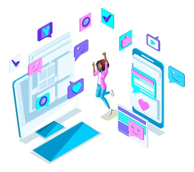 Isometrie cooles mädchen teenager, springen, generation z, schöne und junge blondine, in sommerkleidung, social-networking-telefone, gadgets set 3