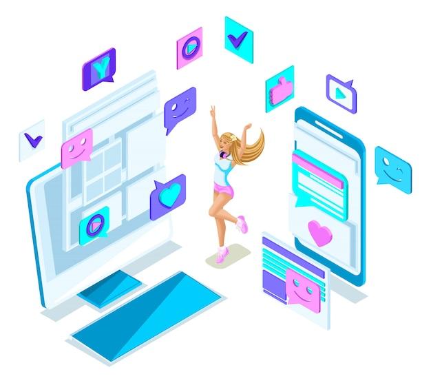 Isometrie cooles mädchen teenager, springen, generation z, schöne und junge blondine, in sommerkleidung, social-networking-telefone, gadgets