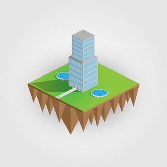 Isometrie das bild zeigt einen voluminösen wolkenkratzer, ein haus, einen wolkenkratzer, ein hotel. alle objekte werden in isometrie gezeichnet. bild.
