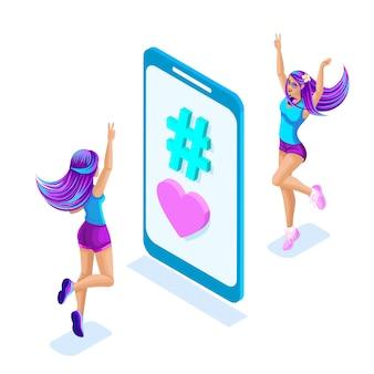 Isometrie der mädchen springen, spaß haben, in der nähe des telefons mit einem hashtag genießen, bunte und helle haarfarbe, helle stilvolle haarfarbe. glamouröses konzept