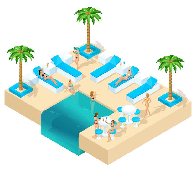 Isometrie des mädchens im urlaub, frauen 3d, junggesellenabschied im resort schöne hotelruhe im loungebereich. palmen, sand, wasser, becken schöne genres, alkohol