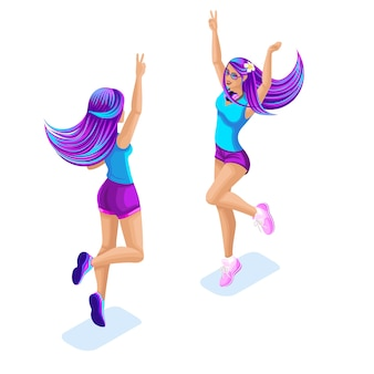 Isometrie eines springenden mädchens, spaß haben, genießen, bunte und helle haarfarbe, galaktisches haar, ombre-stil, helle haarfarbe. glamour fashion konzept