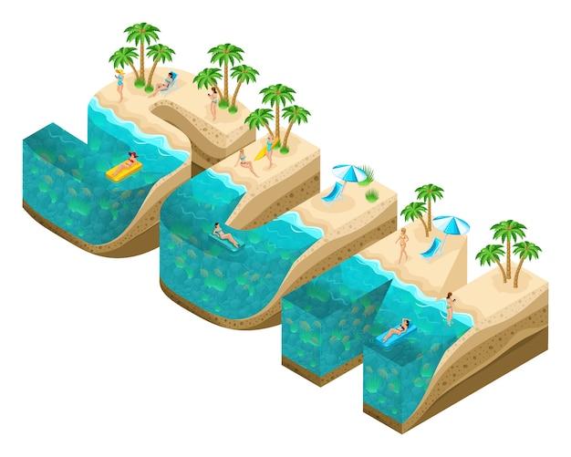 Isometrie-insel in form von großbuchstaben sonne, buchstaben, tiefe der erde und des meeres, unterwasserwelt, strand, palmen und glückliche menschen