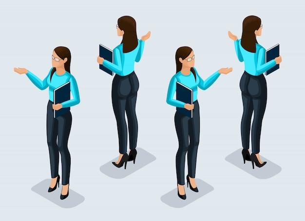 Isometrie ist eine geschäftsfrau. büroangestellter. mädchen in geschäftsanzugansicht von der vorder- und rückansicht. menschliche ikone für illustrationen