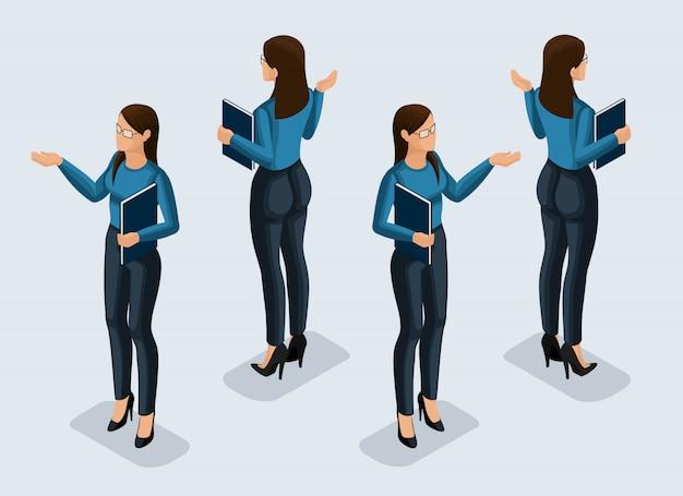 Isometrie ist eine geschäftsfrau. mädchen büroangestellte, in einem business-anzug vorderansicht und rückansicht. menschliche ikone für illustrationen