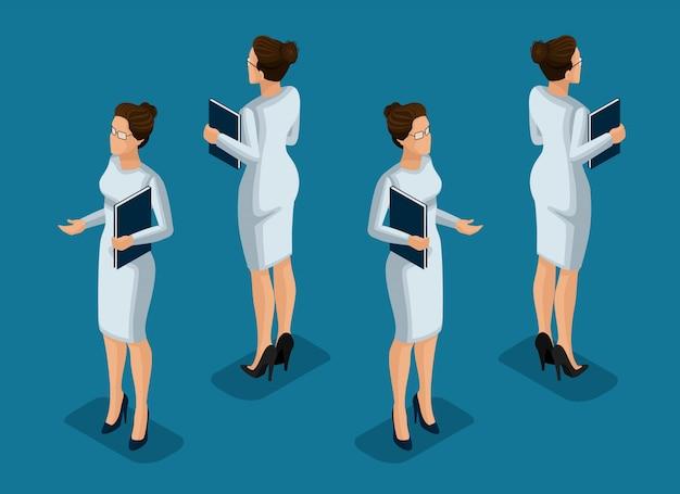Isometrie ist eine geschäftsfrau. mädchen büroangestellte, in einem geschäft grau kleid vorderansicht und rückansicht. menschliche ikone für illustrationen