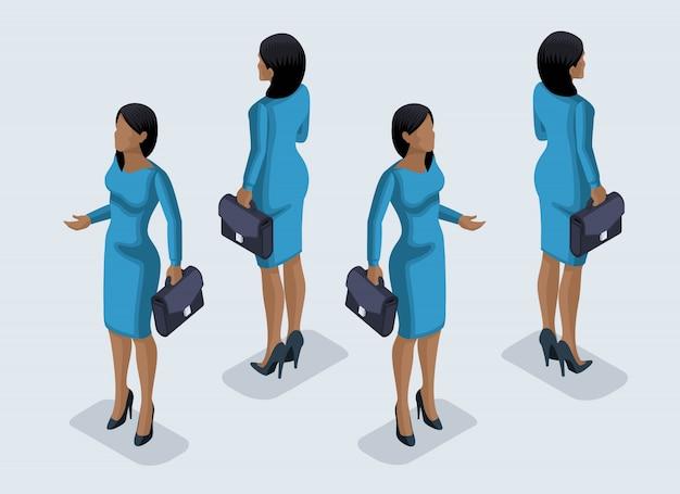 Isometrie ist eine geschäftsfrau. mädchen eines büroangestellten, in einem geschäftskleid vorderansicht und rückansicht. menschliche ikone für illustrationen