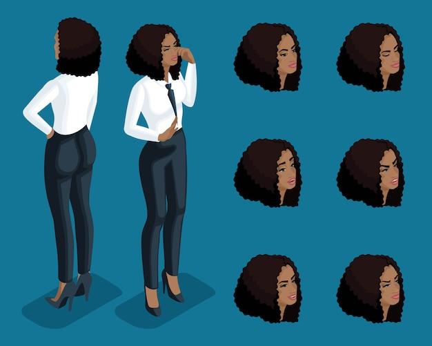 Isometrie mädchen emotionen, handgesten geschäftsdame, anwälte, bankangestellte, gesichtsausdruck, vorderansicht rückansicht. qualitative isometrie von menschen