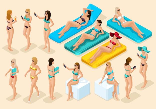 Isometrie-satz von mädchen in badeanzügen für den strand, ansicht der 3d frau vorder- und rückansicht, stehend, sitzend, auf dem meter liegend. qualitative moderne detaillierung von