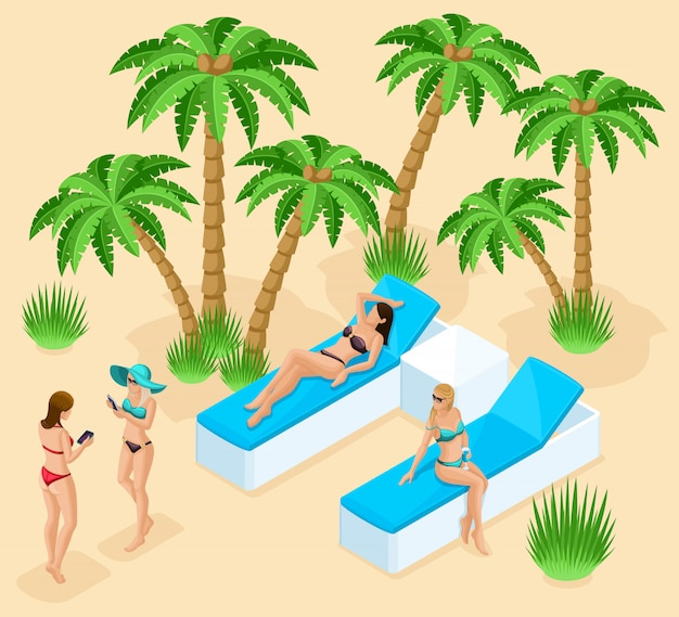 Isometrien eines mädchens in badeanzügen für den strand, 3d-frauen ruhen am strand, einem resort, dem meer, palmen, cocktails, sonnenliegen. qualitative detaillierung von menschen