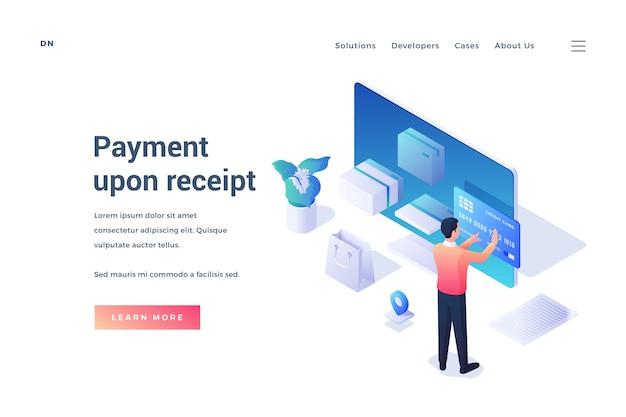 Isometrisch des website-banners, das männlichen kunden bequemen service des online-einkaufs und der zahlung nach erhalt auf weißem hintergrund anbietet
