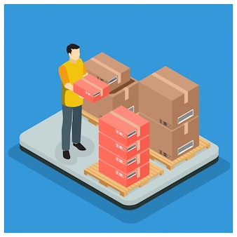 Isometrisch fast delivery service-konzept