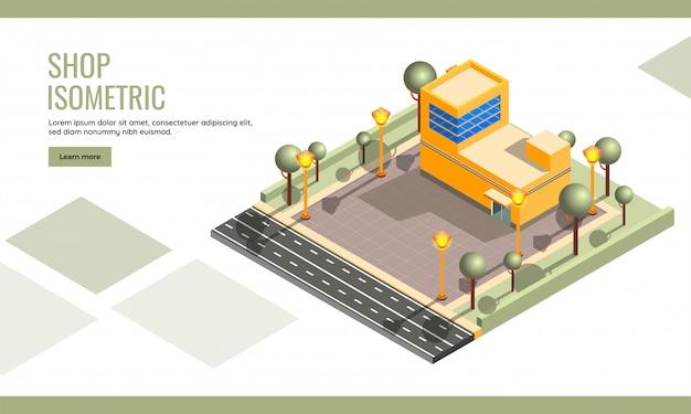 Isometrisch, gebäude-landing page oder web template für website-design