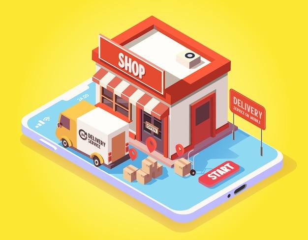 Isometrisch schnelle lieferung per lieferwagen auf dem handy. e-commerce-konzept