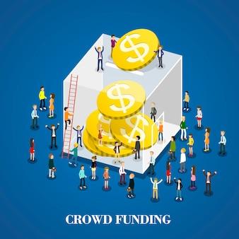 Isometrisch von crowdfunding
