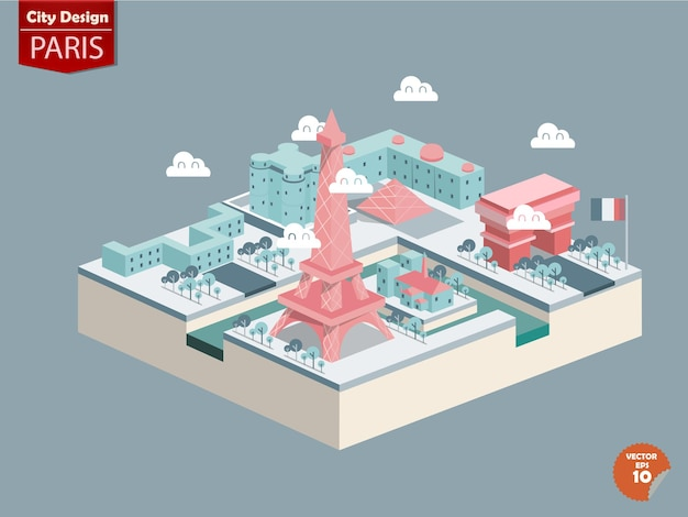 Isometrisch von london paris, frankreich.