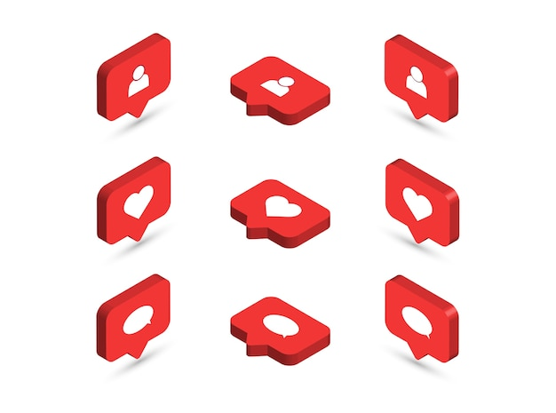 Isometrisch wie symbole. social-media-benachrichtigungssymbole.