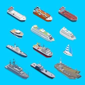 Isometrische 12 schiff detaillierte web-icon-set