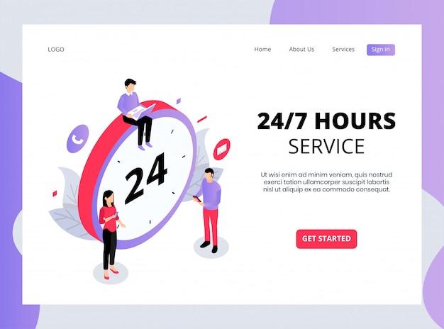 Isometrische 24/7-stunden-dienste