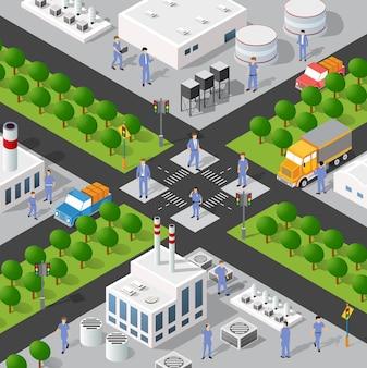 Isometrische 3d-darstellung des stadtviertels des industriegebiets mit häusern
