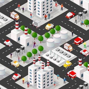 Isometrische 3d-darstellung des stadtviertels industriegebiet mit straßen, menschen. stockillustration für die design- und spieleindustrie.