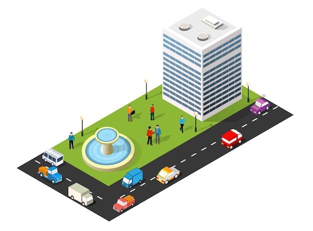 Isometrische 3d-darstellung des stadtviertels mit häusern, straßen, menschen, autos