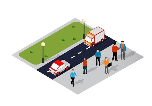 Isometrische 3d-darstellung des stadtviertels mit straßen, menschen, autos