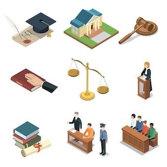 Isometrische 3d-elemente der öffentlichen justiz