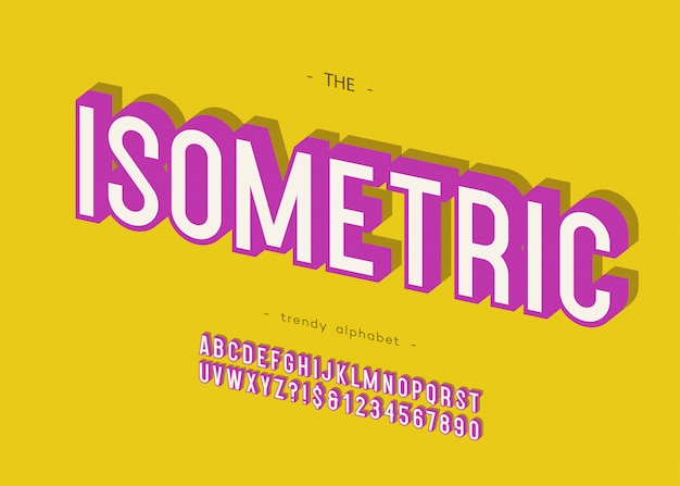 Isometrische 3d-fettschrift ohne serifen-typografie