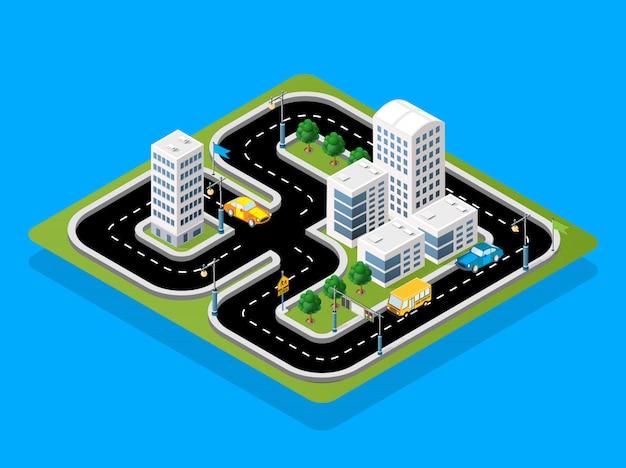 Isometrische 3d-illustration bahnrennen mit autos
