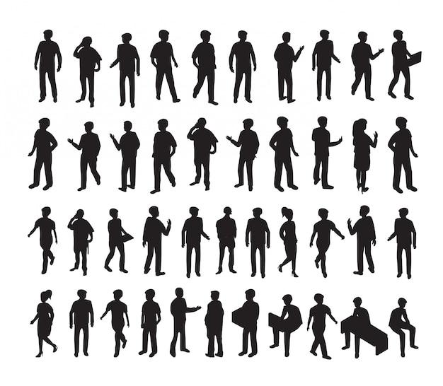 Isometrische 3d-illustration stellte silhouetten von menschen ein