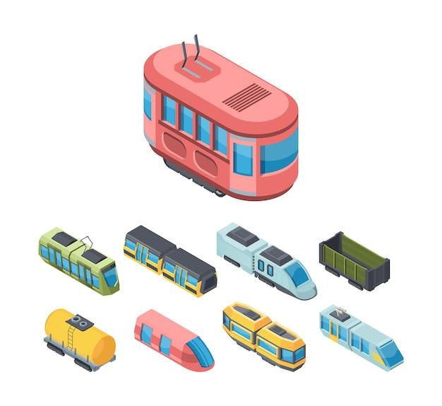 Isometrische 3d-illustrationen des öffentlichen verkehrs der stadt eingestellt. schnellbahnverkehr.
