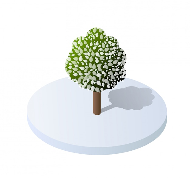Isometrische 3d-illustrationsbaumwaldnaturelemente