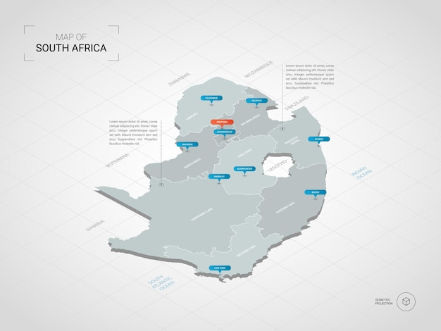Isometrische 3d-karte der republik südafrika.