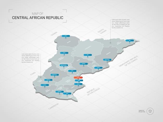 Isometrische 3d-karte der zentralafrikanischen republik.