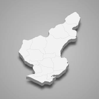 Isometrische 3d-karte von adana ist eine provinz der türkei