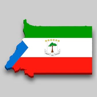 Isometrische 3d-karte von äquatorialguinea mit nationalflagge.